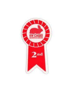 2nd Place Red Ribbon Sticker, 100/pk