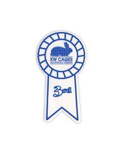 3rd Place White Ribbon Sticker, 100/pk