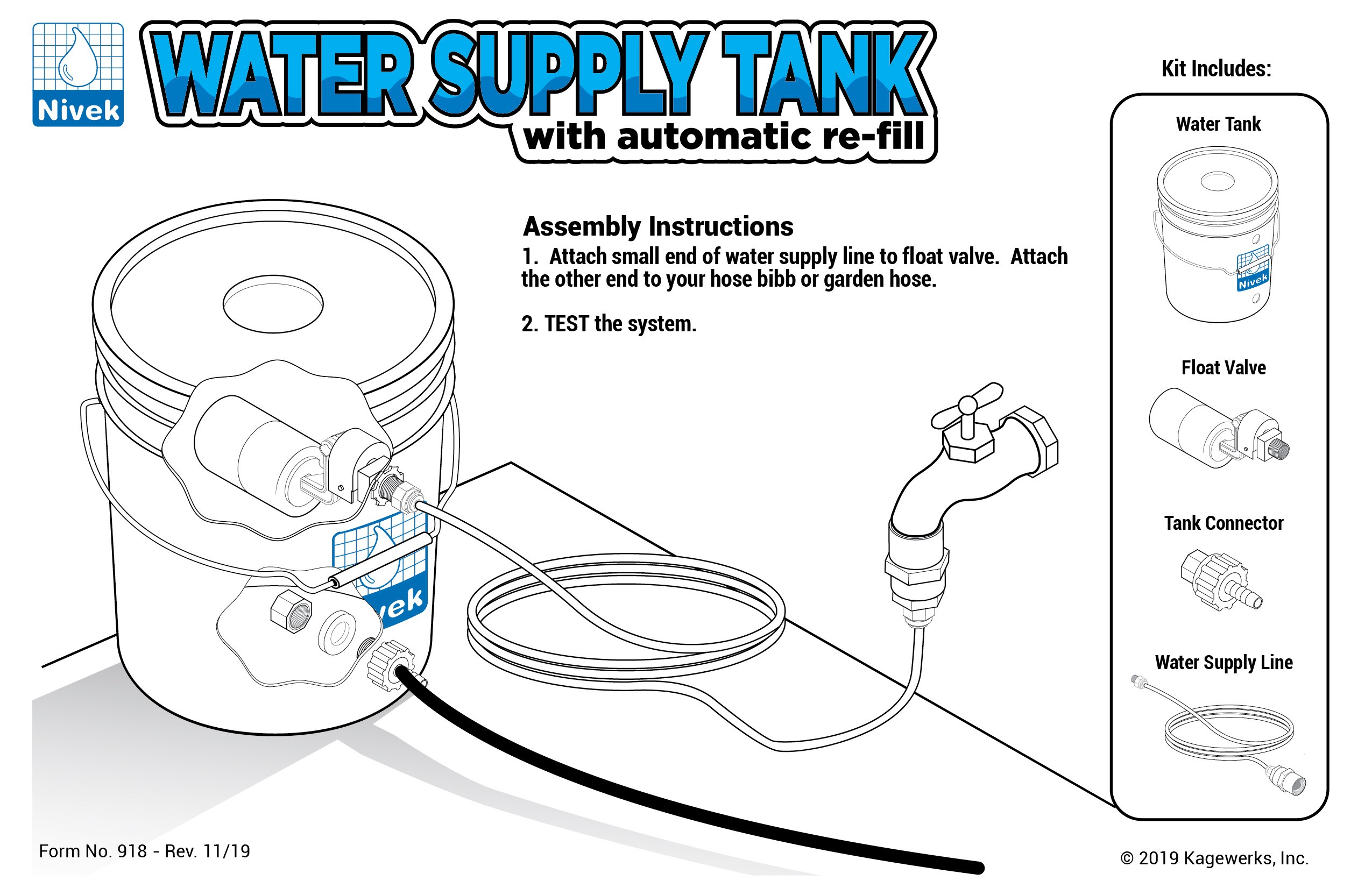 Nivek™ Water Supply Tank w/ Auto Refill